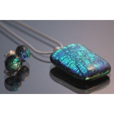 Emerald dichroic jewellery set