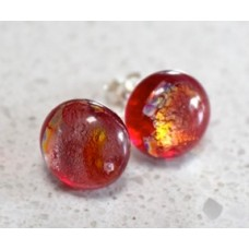 Earrings studs red and gold